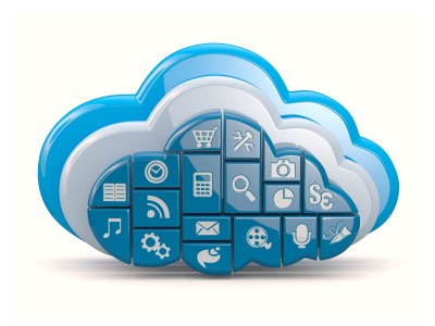 Picture of a cloud computing mock up with lots of cloud computing icons.