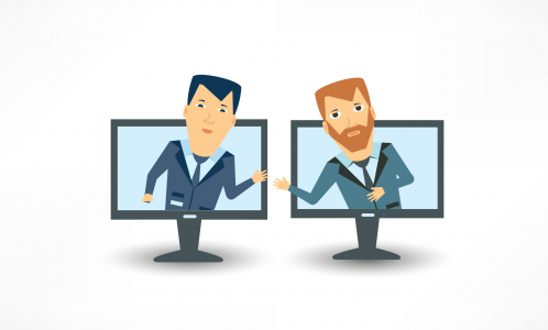 Two cartoon men in computer monitors shaking hands between screens