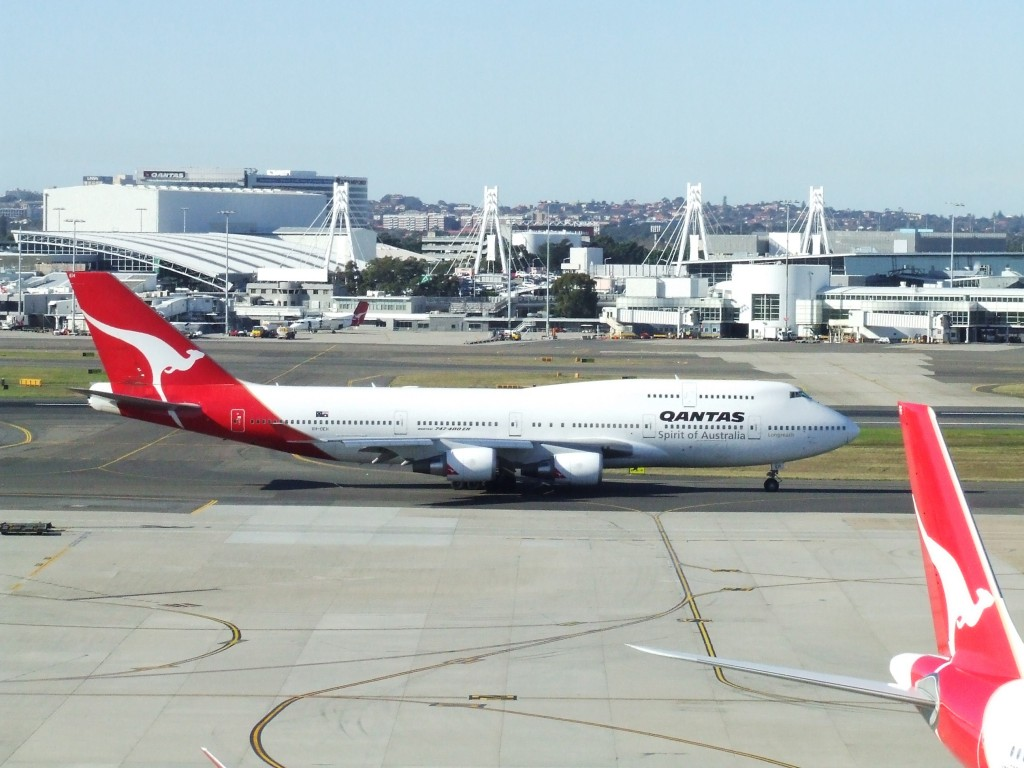 Picture of a Qantas 747-400 the plane Mark took when going abroad to get investment for his childcare app Xplor