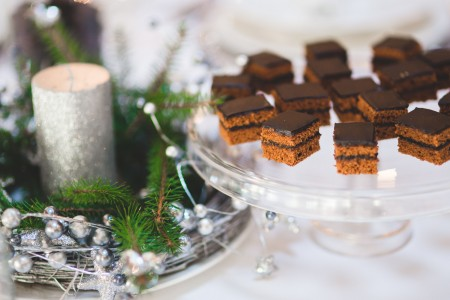 Picture of some free chocolate squares at a Christmas party. Lets to honest this is a huge reasons to attend holiday parties