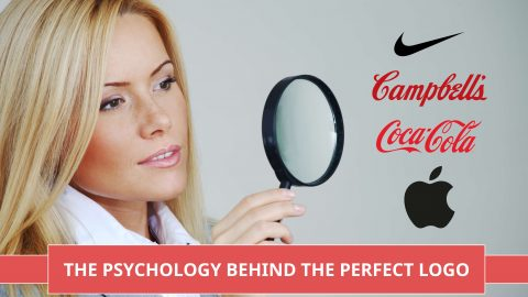 Picture of a Logo Psychology in action as a woman looks at logos from the worlds biggest brands