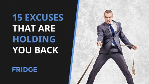 Image that has the text '15 Excuses That Are Holding You Back' on it and a man in a business suit pulling on a rope