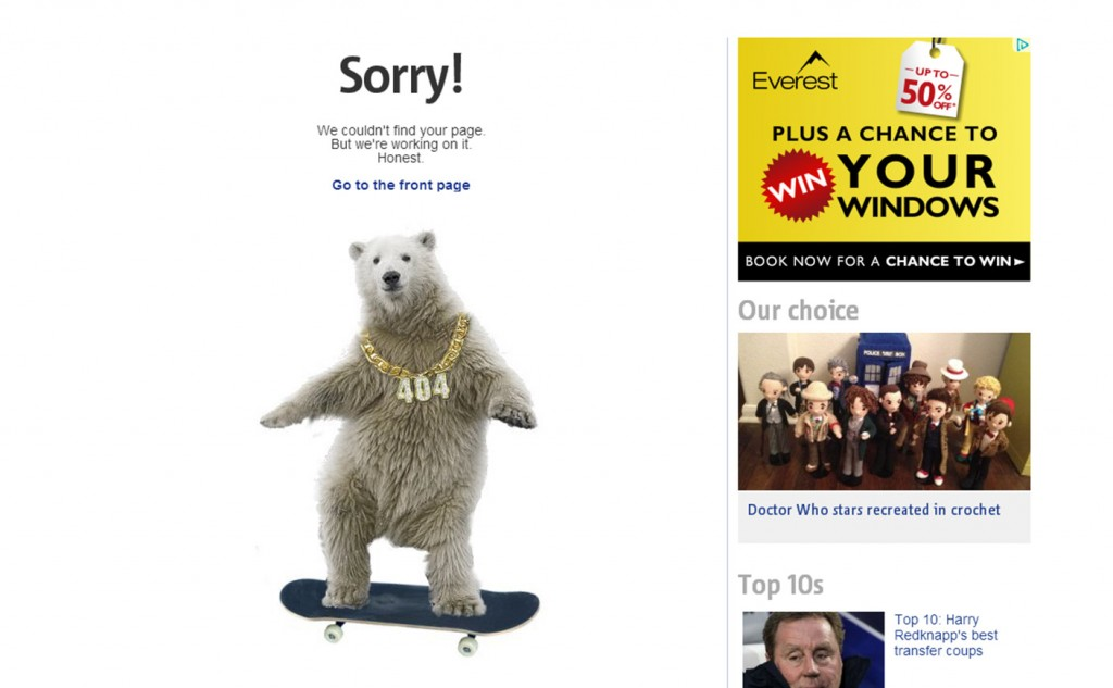 Picture of a polar bear on a skateboard with numbers 404 on chain around its neck to show a website can't find page