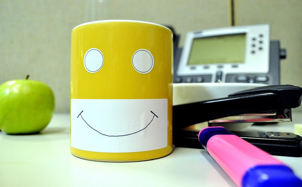 Picture of a coffee mug with a smile on