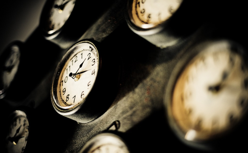 Picture of 5 old clocks all out of focus