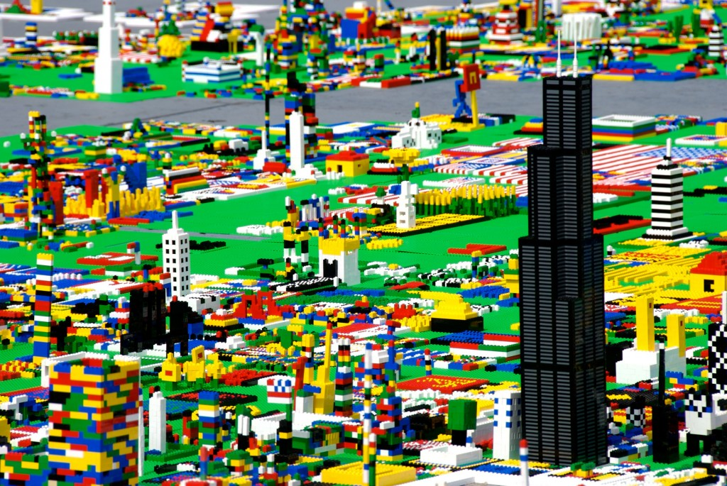 A Intricate City Scene Built With Lego