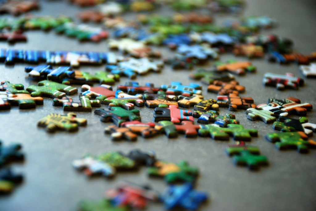 Picture of lots of pieces of a puzzle