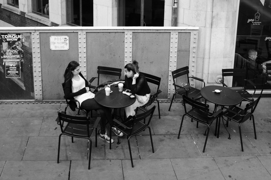 Picture of two people meeting each other for coffee