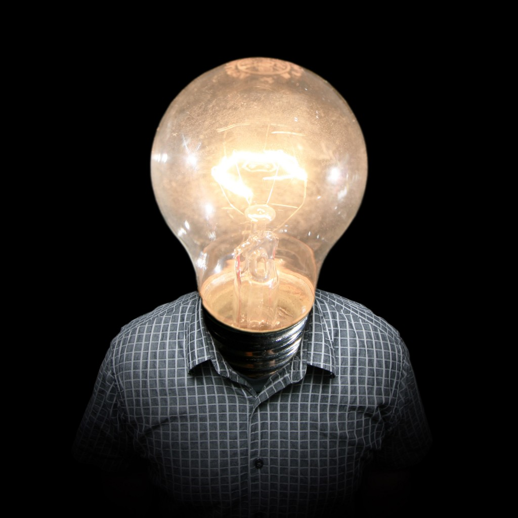 Picture of a man with a light bulb for a head