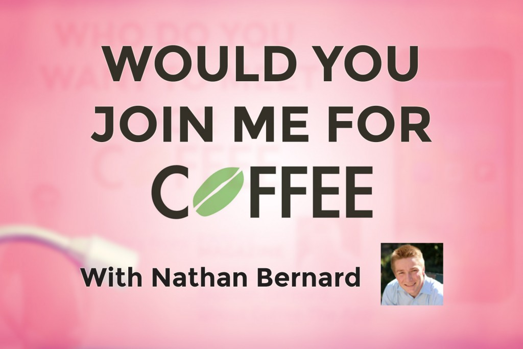 A Thumnail with words Would You Like To Go For A Coffee? on and a picture of Nathan Bernard CEO of Coffee The App