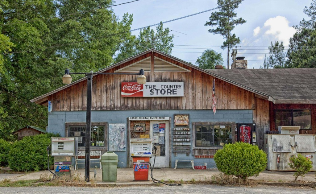 Picture of a country store with 'Country Store' sign above the shop front
