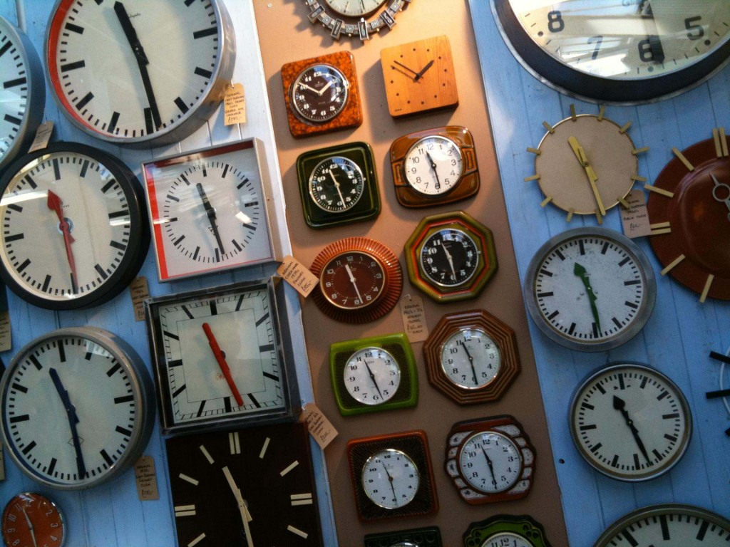 Picture of lots of clocks