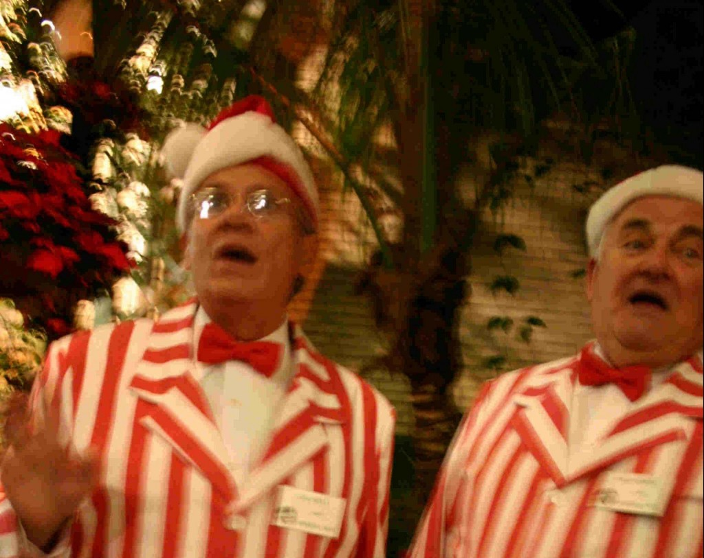 Picture of two men dressed in red and white costumes