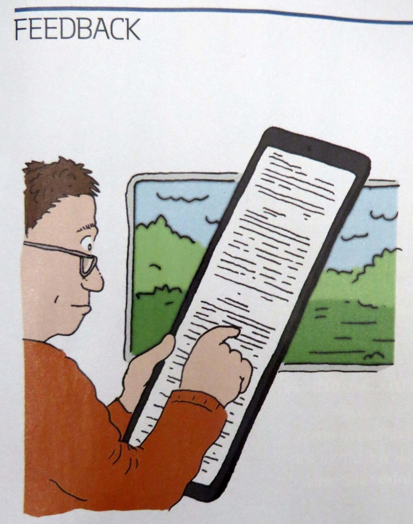 Cartoon of a man holding a huge ipad with lots of writing on and the word feedback in the top left hand corner