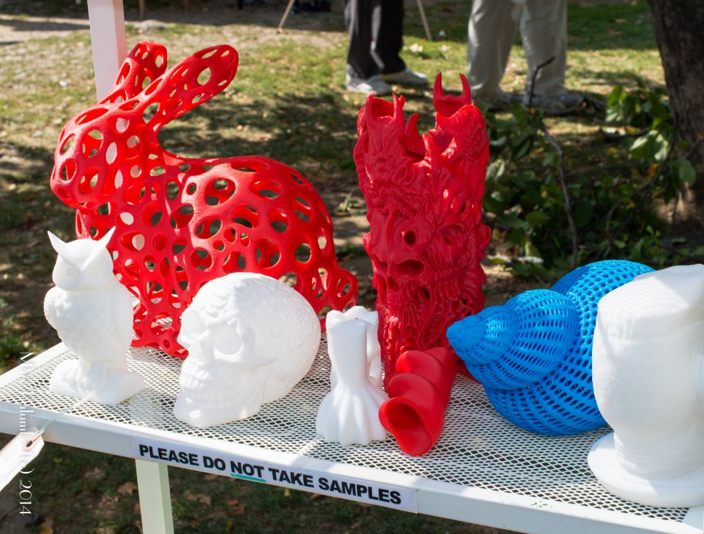 Picture of a collection of 3d printed sculptures of rabits