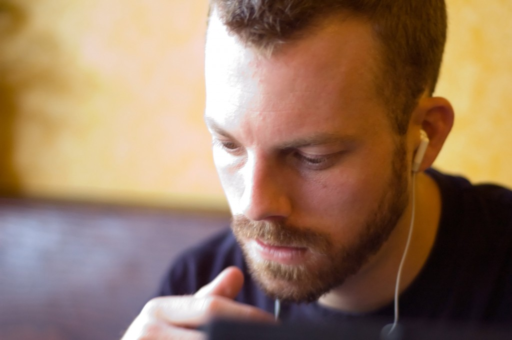 Picture of a man listening to music