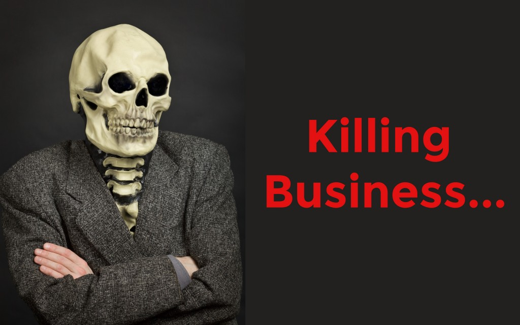 Picture of a skeleton in a business suit