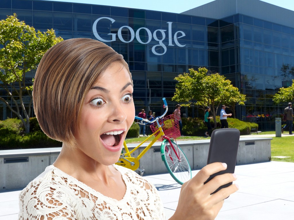 Picture of woman looking at her phone surprised that SEO & Social Media work