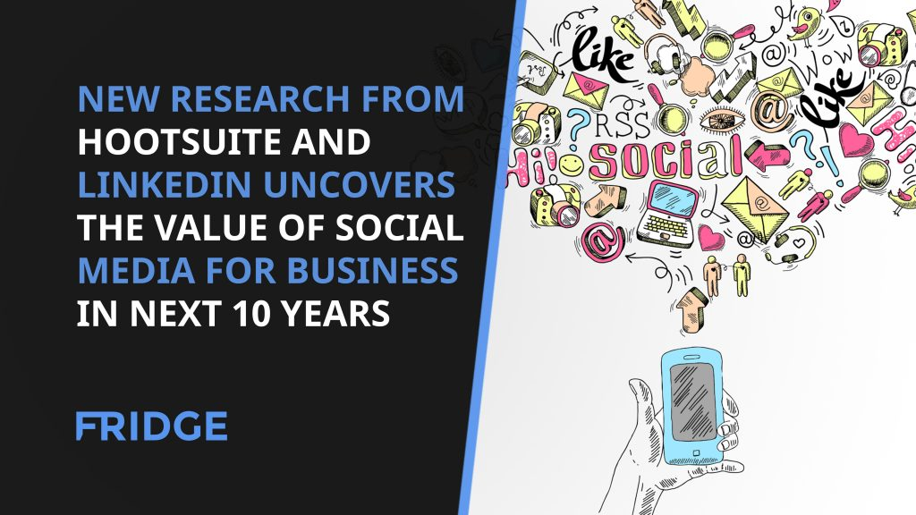 Image that says - New Research From Hootsuite And Linkedin Uncovers The Value Of Social Media For Business In Next 10 Years