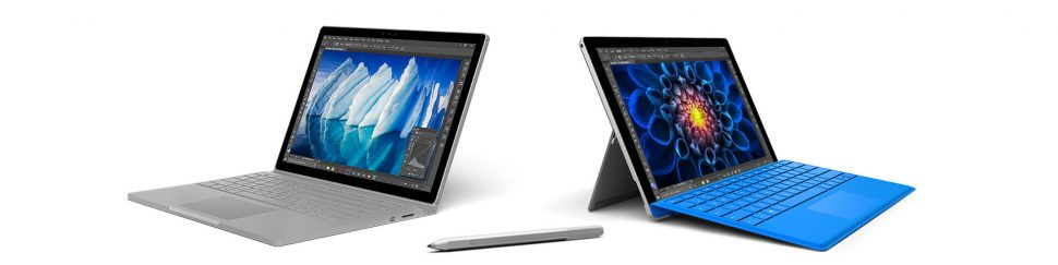 Image of the Microsoft Surface Book and Surface Pro 4