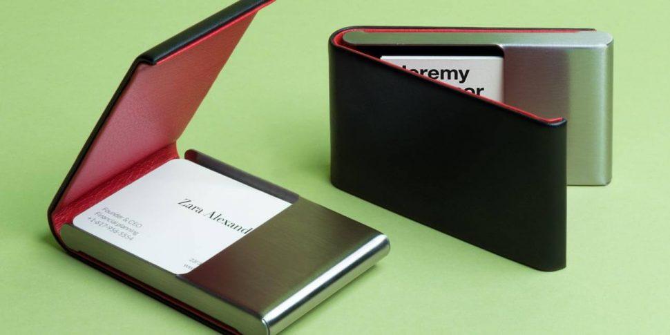Brushed Steel & Leather Business Card Holder